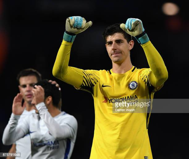 Thibaut Courtois of Chelsea celebrates after the Premier League match between West Bromwich Albion and Chelsea at The Hawthorns on November 18 2017...