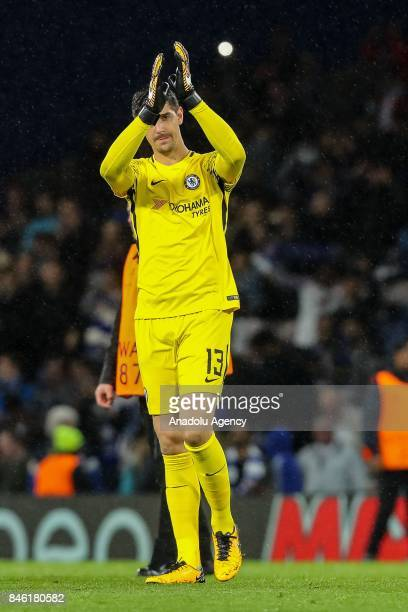 Thibaut Courtois of Chelsea celebrates after winning the UEFA Champions League Group C match between Chelsea FC and Qarabag FK at Stamford Bridge on...