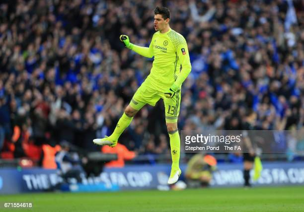 Thibaut Courtois of Chelsea celebrates during The Emirates FA Cup SemiFinal between Chelsea and Tottenham Hotspur at Wembley Stadium on April 22 2017...