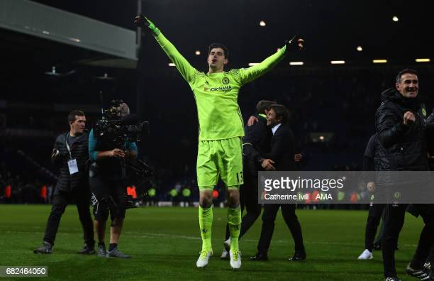 Thibaut Courtois of Chelsea celebrates during the Premier League match between West Bromwich Albion and Chelsea at The Hawthorns on May 12 2017 in...