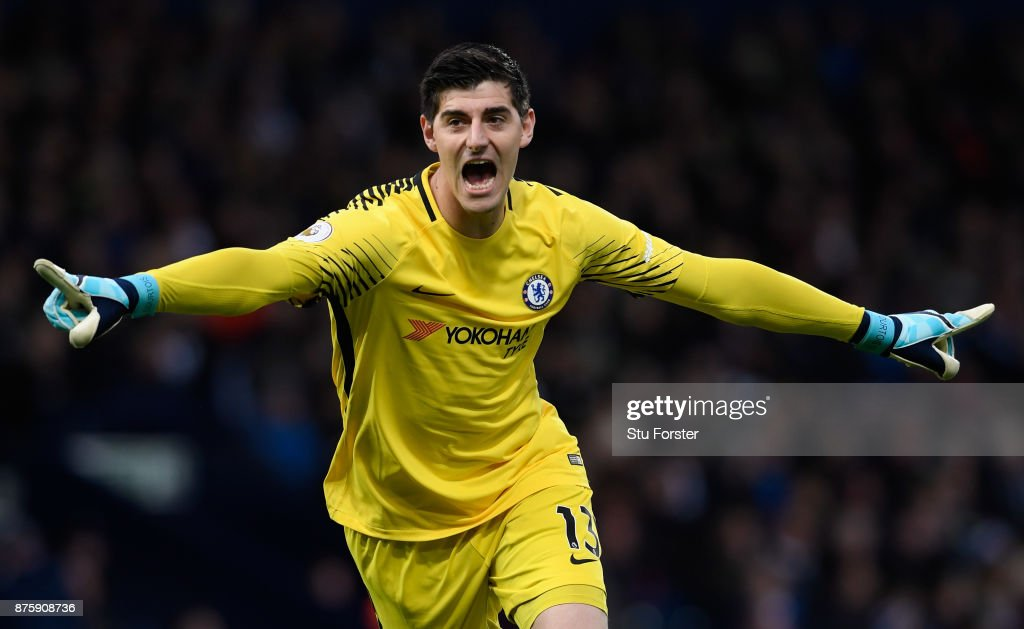 Thibaut Courtois of Chelsea celebrates his side's second goal during the Premier League match between West Bromwich Albion and Chelsea at The Hawthorns on November 18, 2017 in West Bromwich, England.