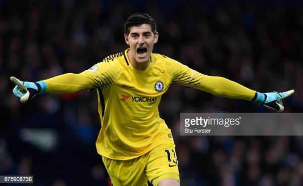 BROMWICH ENGLAND NOVEMBER Thibaut Courtois of Chelsea celebrates his side's second goal during the Premier League match between West Bromwich Albion...
