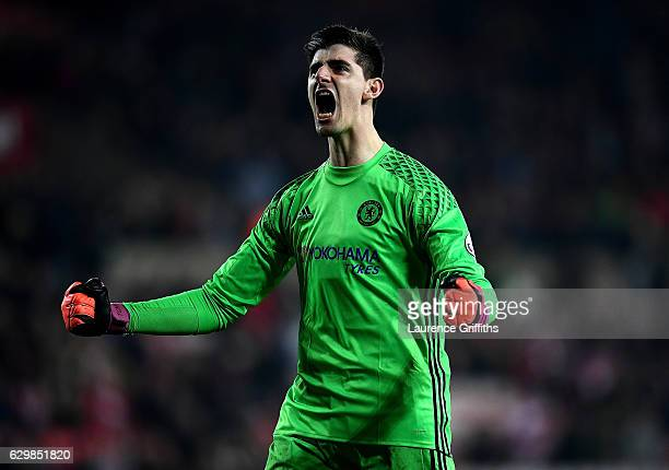Thibaut Courtois of Chelsea celebrates the final whistle during the Premier League match between Sunderland and Chelsea at Stadium of Light on...