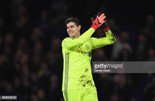 Thibaut Courtois of Chelsea celebrates victory after The Emirates FA Cup QuarterFinal match between Chelsea and Manchester United at Stamford Bridge...