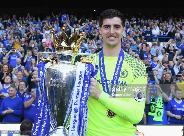 Thibaut Courtois of Chelsea celebrates winning the league following the Premier League match between Chelsea and Sunderland at Stamford Bridge on May...
