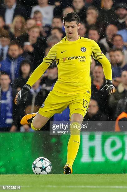 Thibaut Courtois of Chelsea controls the ball during the UEFA Champions League group C match between Chelsea FC and Qarabag FK at Stamford Bridge on...