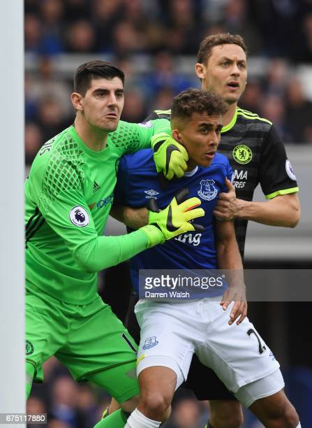 Thibaut Courtois of Chelsea Dominic CalvertLewin of Everton and Nemanja Matic of Chelsea battle in the box while waiting for a corner during the...
