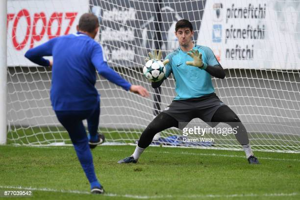 Thibaut Courtois of Chelsea during a training session at Bakcell Arena on November 21 2017 in Baku Azerbaijan