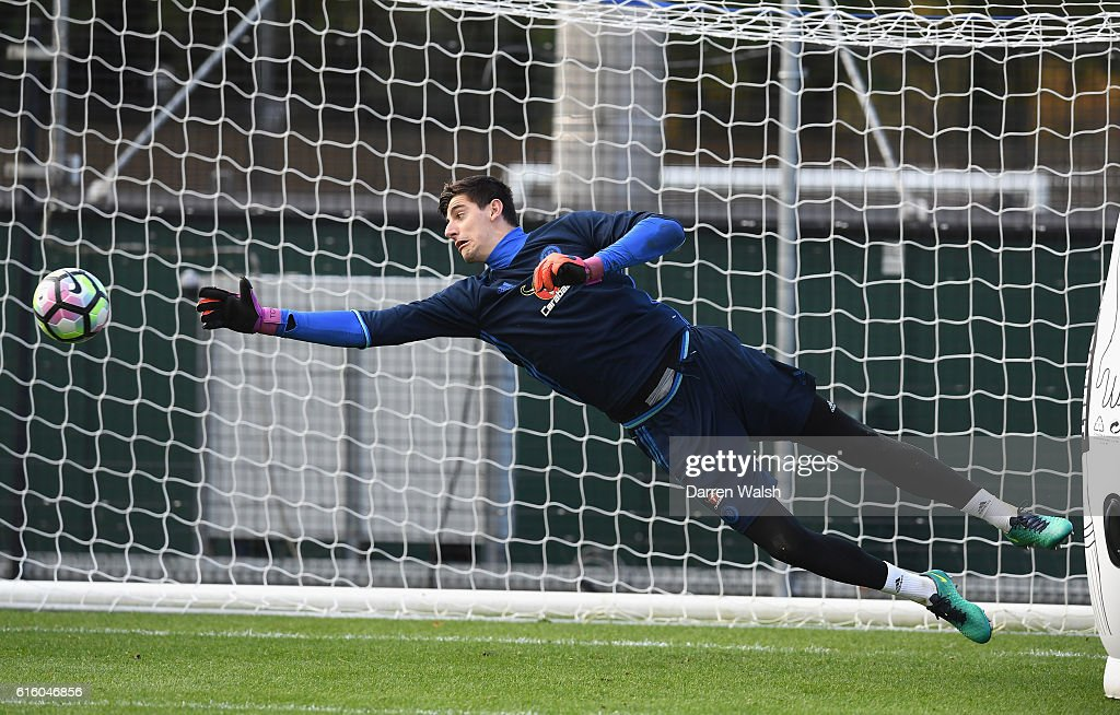 Thibaut Courtois of Chelsea during a training session at Chelsea Training Ground on October 21, 2016 in Cobham, England.