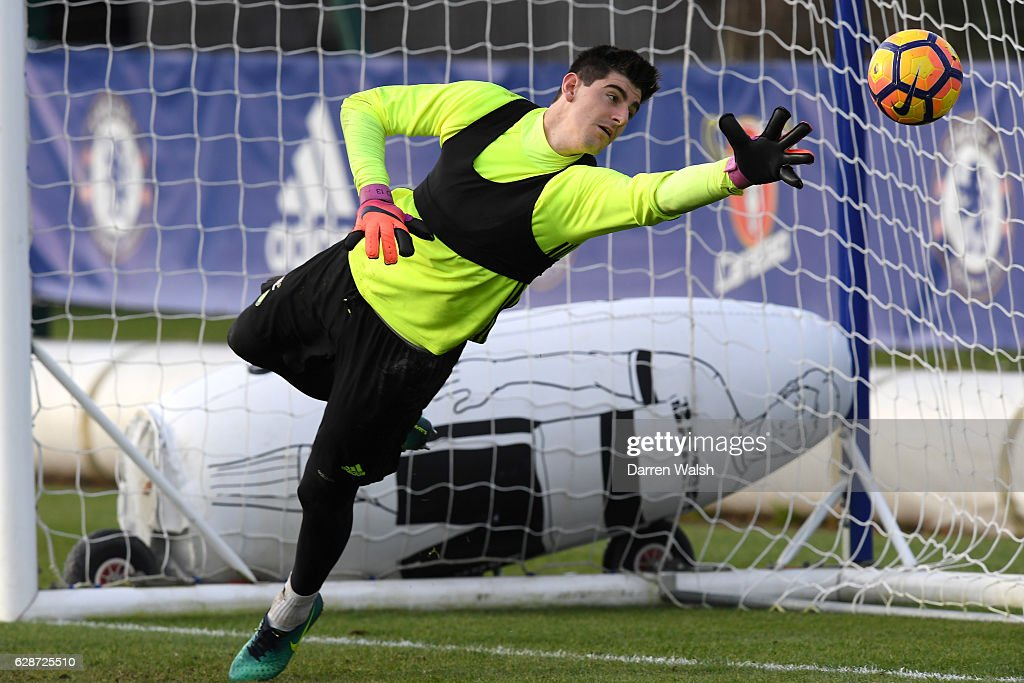 Thibaut Courtois of Chelsea during a training session at Chelsea Training Ground on December 9, 2016 in Cobham, England.