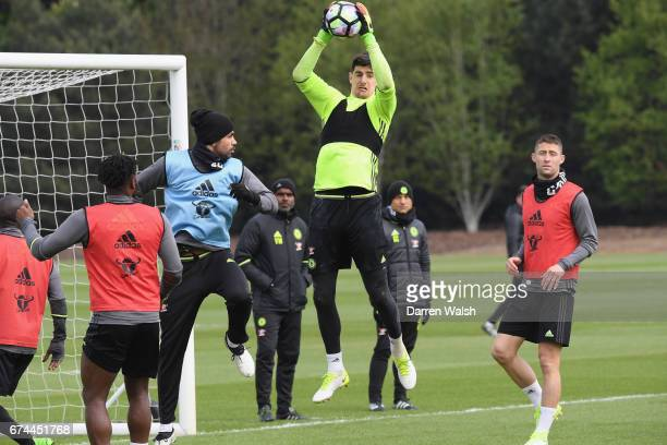 Thibaut Courtois of Chelsea during a training session at Chelsea Training Ground on April 28 2017 in Cobham England