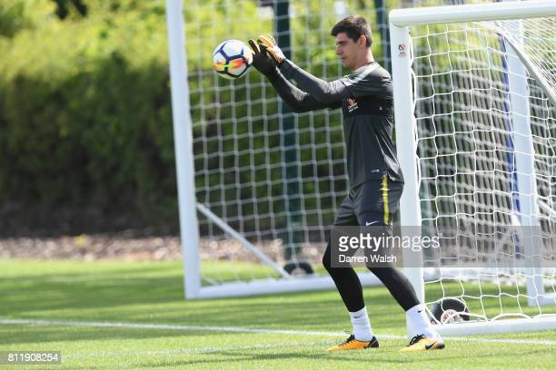 Thibaut Courtois of Chelsea during a training session at Chelsea Training Ground on July 10 2017 in Cobham England