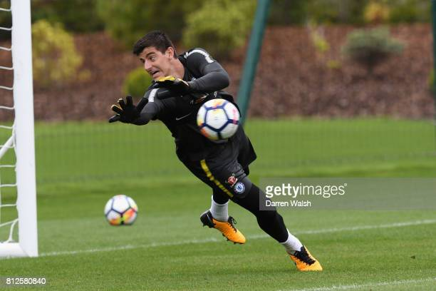 Thibaut Courtois of Chelsea during a training session at Chelsea Training Ground on July 11 2017 in Cobham England