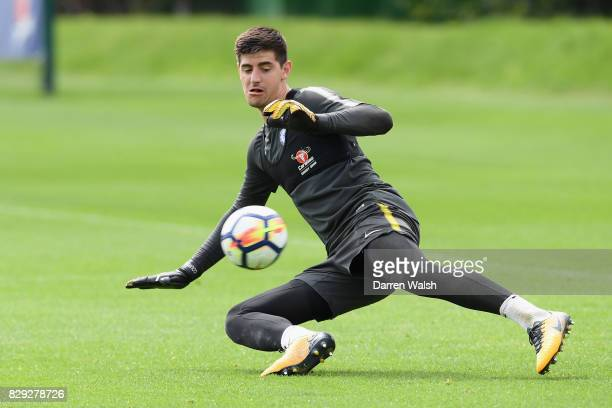Thibaut Courtois of Chelsea during a training session at Chelsea Training Ground on August 10 2017 in Cobham England