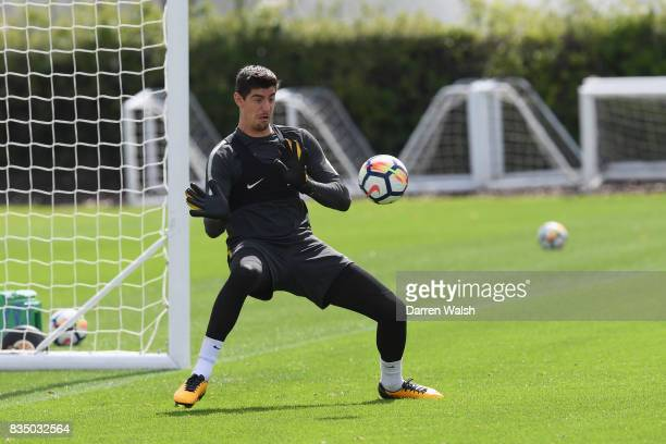 Thibaut Courtois of Chelsea during a training session at Chelsea Training Ground on August 18 2017 in Cobham England
