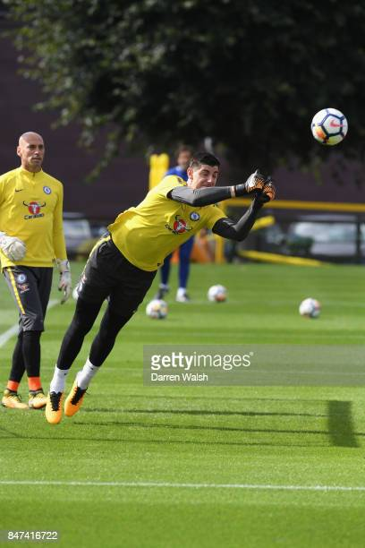 Thibaut Courtois of Chelsea during a training session at Chelsea Training Ground on September 15 2017 in Cobham England