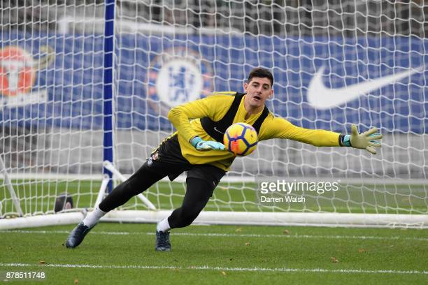 Thibaut Courtois of Chelsea during a training session at Chelsea Training Ground on November 24 2017 in Cobham England