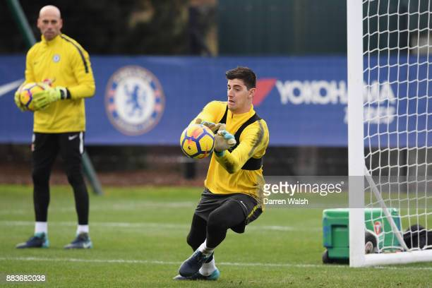Thibaut Courtois of Chelsea during a training session at Chelsea Training Ground on December 1 2017 in Cobham England