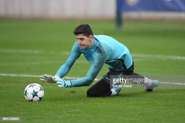 Thibaut Courtois of Chelsea during a training session at Chelsea Training Ground on December 4 2017 in Cobham England