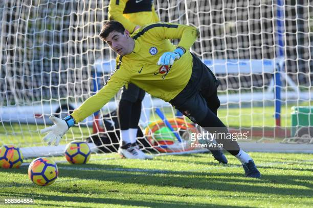 Thibaut Courtois of Chelsea during a training session at Chelsea Training Ground on December 8 2017 in Cobham England