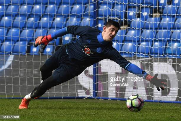 Thibaut Courtois of Chelsea during a training session at Stamford Bridge on March 17 2017 in London England