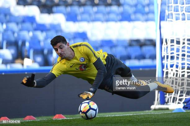 Thibaut Courtois of Chelsea during a training session at Stamford Bridge on September 22 2017 in Cobham England