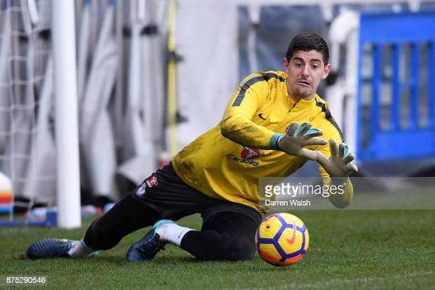 Thibaut Courtois of Chelsea during a training session at Stamford Bridge on November 17 2017 in London England