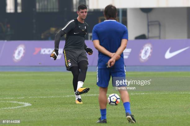 Thibaut Courtois of Chelsea during a training session at the AOTI Stadium on July 20 2017 in Beijing China
