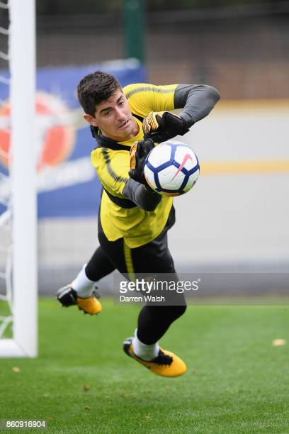 Thibaut Courtois of Chelsea during a training session at the Cobham Training Ground on October 13 2017 in Cobham England