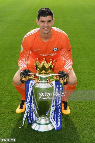 Thibaut Courtois of Chelsea during the Chelsea Squad Photocall at Chelsea Training Ground on September 15 2017 in Cobham England