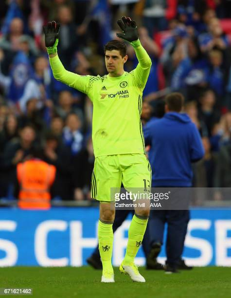 Thibaut Courtois of Chelsea during the Emirates FA Cup semifinal match between Tottenham Hotspur and Chelsea at Wembley Stadium on April 22 2017 in...