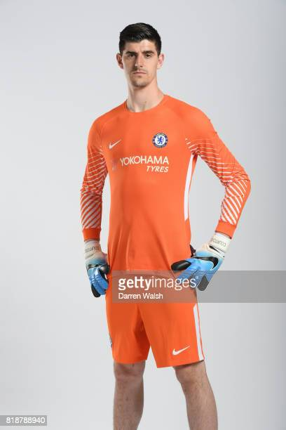 Thibaut Courtois of Chelsea during the New Nike Kit Photoshoot at Chelsea Training Ground on April 18 2017 in Cobham England