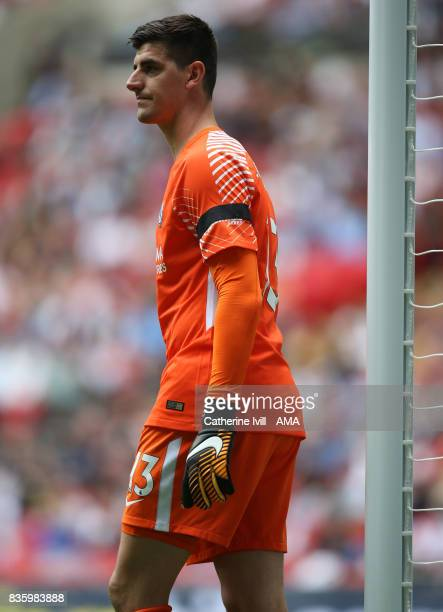 Thibaut Courtois of Chelsea during the Premier League match between Tottenham Hotspur and Chelsea at Wembley Stadium on August 20 2017 in London...
