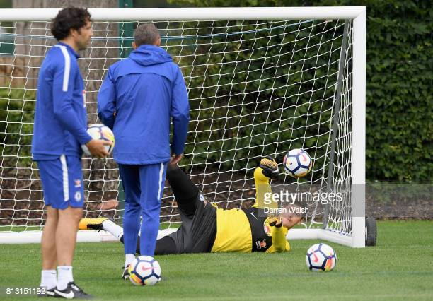Thibaut Courtois of Chelsea in action during a training session at Chelsea Training Ground on July 12 2017 in Cobham England