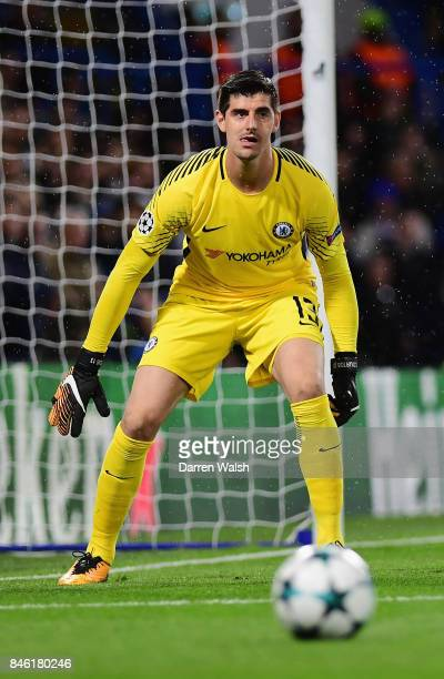 Thibaut Courtois of Chelsea in action during the UEFA Champions League Group C match between Chelsea FC and Qarabag FK at Stamford Bridge on...