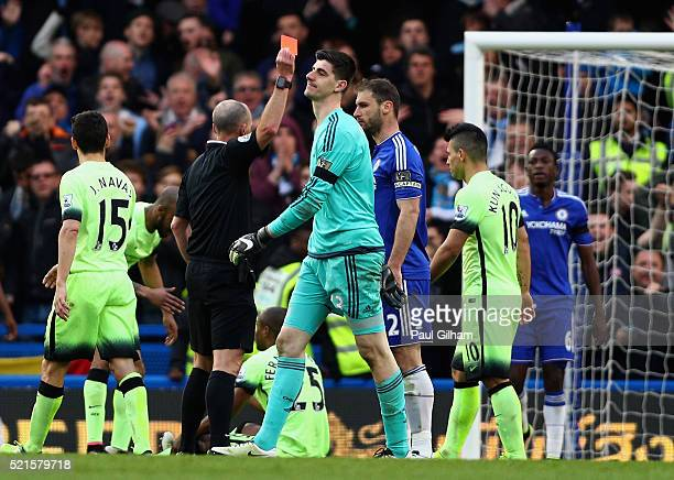 Thibaut Courtois of Chelsea leaves the pitch following recieving a red card during the Barclays Premier League match between Chelsea and Manchester...