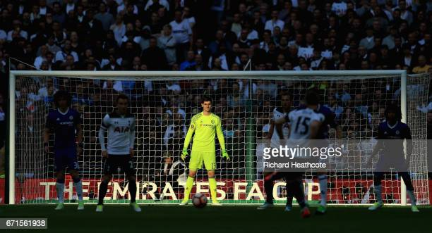 Thibaut Courtois of Chelsea looks on during The Emirates FA Cup SemiFinal between Chelsea and Tottenham Hotspur at Wembley Stadium on April 22 2017...