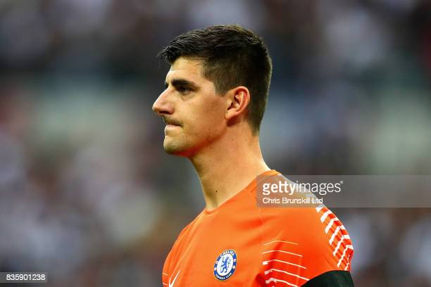 Thibaut Courtois of Chelsea looks on during the Premier League match between Tottenham Hotspur and Chelsea at Wembley Stadium on August 20 2017 in...