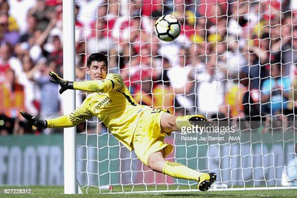 Thibaut Courtois of Chelsea misses a penalty save during the The FA Community Shield between Chelsea and Arsenal at Wembley Stadium on August 6 2017...