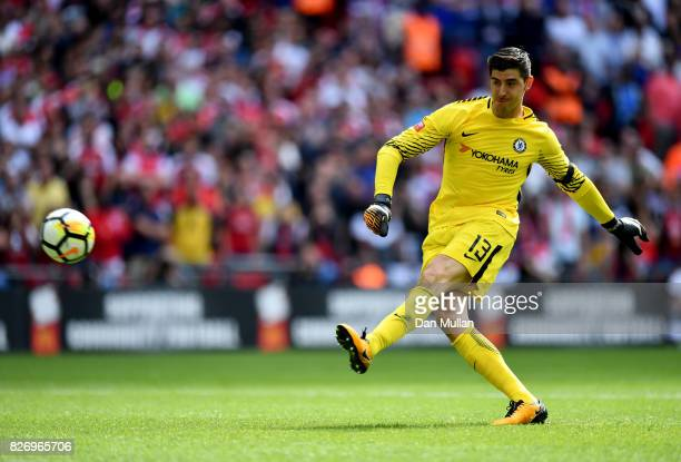 Thibaut Courtois of Chelsea misses his sides second penalty in the penalty shoot out during the The FA Community Shield final between Chelsea and...