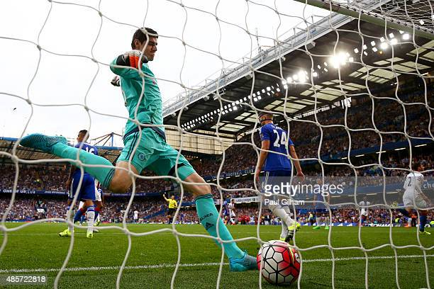 Thibaut Courtois of Chelsea reacts after the Crystal Palace's second goal by Joel Ward during the Barclays Premier League match between Chelsea and...