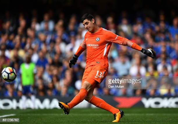 Thibaut Courtois of Chelsea sends the ball forward during the Premier League match between Chelsea and Burnley at Stamford Bridge on August 12 2017...