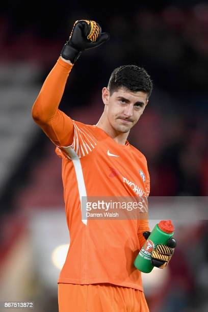 Thibaut Courtois of Chelsea shows appreciation to the fans after the Premier League match between AFC Bournemouth and Chelsea at Vitality Stadium on...