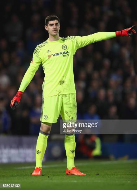 Thibaut Courtois of Chelsea signals during The Emirates FA Cup QuarterFinal match between Chelsea and Manchester United at Stamford Bridge on March...