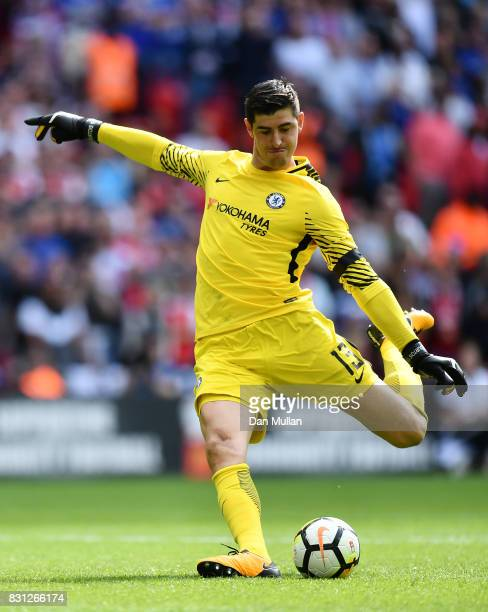 Thibaut Courtois of Chelsea takes a penalty during the FA Community Shield between Chelsea and Arsenal at Wembley Stadium on August 6 2017 in London...