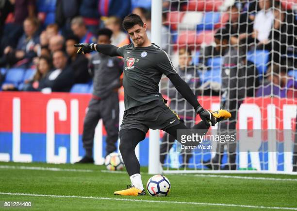 Thibaut Courtois of Chelsea wamrs up prior to the Premier League match between Crystal Palace and Chelsea at Selhurst Park on October 14 2017 in...