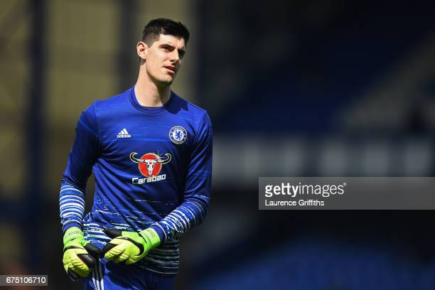 Thibaut Courtois of Chelsea warms up prior to the Premier League match between Everton and Chelsea at Goodison Park on April 30 2017 in Liverpool...
