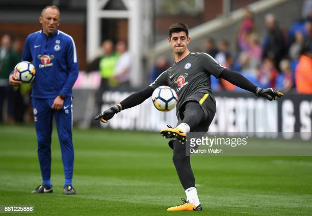 Thibaut Courtois of Chelsea warms up prior to the Premier League match between Crystal Palace and Chelsea at Selhurst Park on October 14 2017 in...