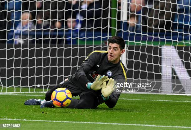 Thibaut Courtois of Chelsea warms up prior to the Premier League match between West Bromwich Albion and Chelsea at The Hawthorns on November 18 2017...