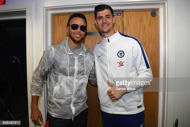 Thibaut Courtois of Chelsea with basketball player Steph Curry after the Premier League match between Chelsea and Arsenal at Stamford Bridge on...